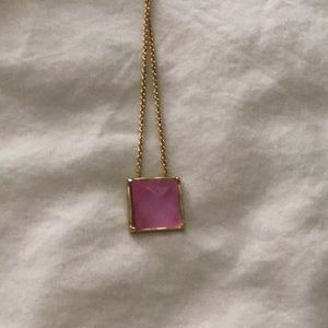 Alexis Bittar pink lucite with gold chain